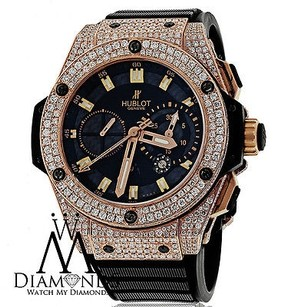Hublot Diamond Hublot King Power Rose Gold Automatic 48mm Watch On Rubber Strap