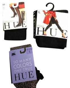 Hue Hue Lot Of Black Black Tights Gold Fishnet Tights 1 B3598