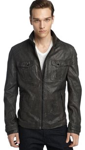 Hugo Boss Orange Jaboo 2 black crinkled Leather biker Jacket 44R US $899