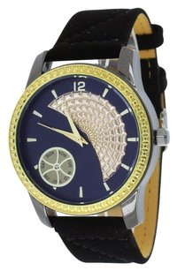 Ice Mania Gold Finish Bezel Watch Black Strap Water Resist Blue Dial Ice Mania Joe Rodeo