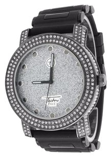 Ice Mania Mens Black Watch Illusion Dial Bullet Black Band Simulated Diamonds Analog Jojo