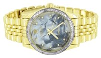 IceTime Gold Finish Diamond Watch Icetime Mother Of Pearl Dial Analog Round Classy Mens