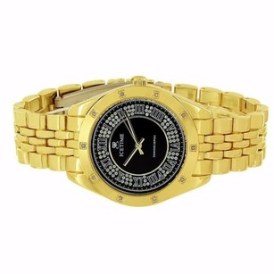 IceTime Icetime Diamond Watch Gold Tone Jubilee Band Roman Number Dial Steel Back Classy