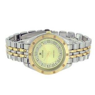 IceTime Icetime Watch Diamond Tone Silver Yellow Gold Finish Party Wear Mens Womens