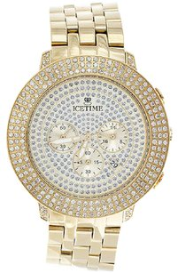 IceTime Mens Icetime Diamond Watch Yellow Steel 48mm Case Illusion Dial Prince Ct.