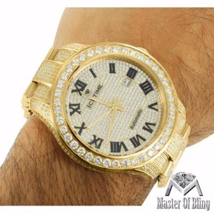 IceTime Mens Ct Diamond 14k Yellow Gold Stainless Steel Roman Date Dial Icetime Watch