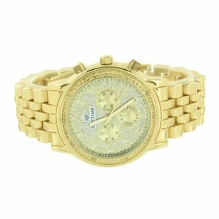 IceTime Mens Icetime Watch Gold Tone Genuine Diamonds Analog Stainless Steel Back Classy