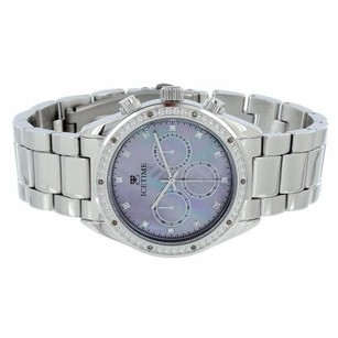IceTime Mop Dial Watch Silver Tone Icetime Genuine Diamonds Mm Mens Classy On Sale