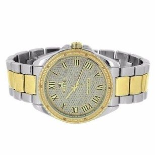IceTime Tone Mens Watch Roman Numeral Dial Icetime Diamond Bezel Gold Silver Mens