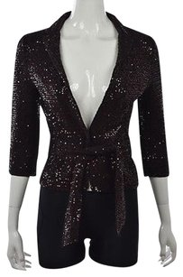 Iisli Womens Basic Cotton Sequined Metallic Top Casual Party Brown Jacket