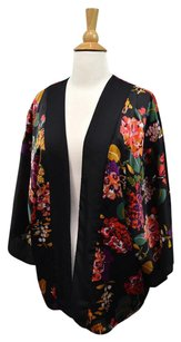 INC International Concepts Floral Kimono Silky Artsy Evening Top Black