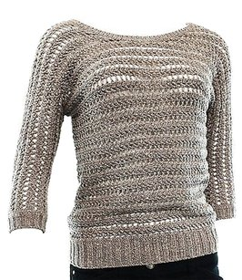 INC International Concepts Taupe Sequin Womens Scoop Sweater