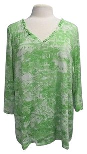 INC International Concepts Woman V Neck Long Sleeve Pattern 2x 3024 A Top Green