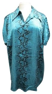 INC International Concepts Woman Short Sleeve Reptile 3x 3019 A Top Teal