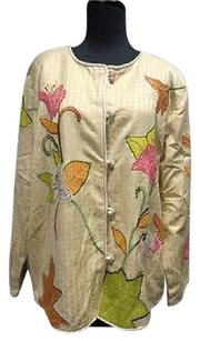 Indigo Moon Embroidered Toggle Button Closure Long Sleeve 6342a Tan Pink Orange Freen Jacket