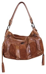INNUE' Womens Tone Handbag Suede Leather Striped Hobo Bag