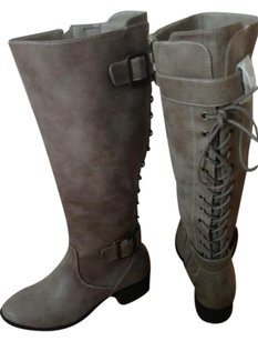 Intaglia Lace Up Low Heel Taupe Boots