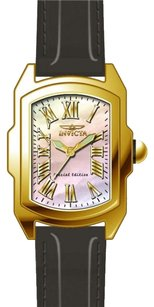 Invicta INVICTA Lupah Mother of Pearl Dial Black Leather Ladies Watch IN20457