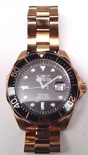 Invicta Mens Invicta 14541 Pro Diver Swiss Black Textured Dial Rose Tone Watch