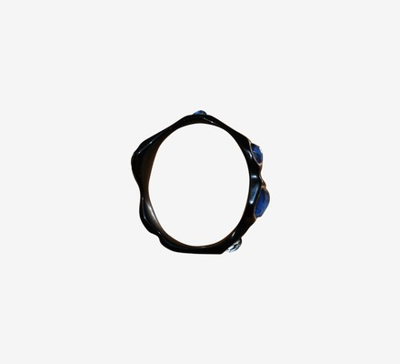 Ippolita black resin Silver 7 blue stone 925 silver inlay Bangle Bracelet