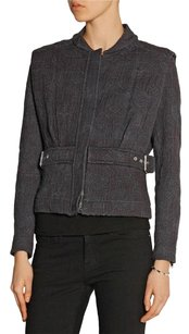IRO Oleg Faded Gray Cotton Jacquard Button Belted 364sm Black Jacket
