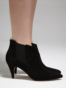 IRO Xora Suede Leather Pointed Toe Heel Slip Pull On 636 Black Boots