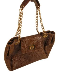 Isaac Mizrahi Reptile Lether Vintage Satchel in Brown