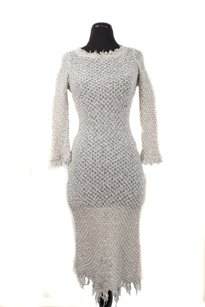 White and Grey Maxi Dress by Isabel Marant Knit 3/4 Sleeve