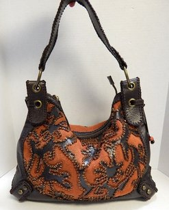 Isabella Fiore Leather Canvas Hobo Bag