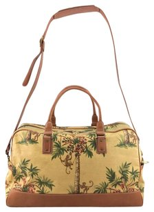 Isabella Fiore Palm Tree Monkey Canvas Brown Trim W Strap Beige/ Brown Diaper Bag