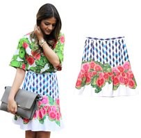 ISOLDA Ruffle Flare Pencil Fruit Print Skirt Blue, White, Pink