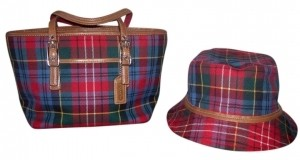 Coach Palid Red, Blue And Green Plaid Bag - Satchel