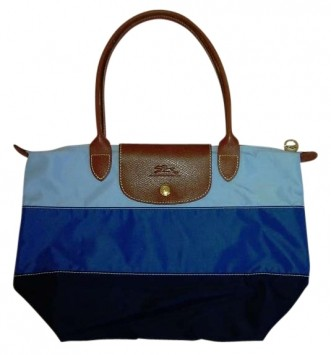 ... Le Pilage Nylonleather In Tricolor Blue. NavyRoyalLt. Blue Tote Bag