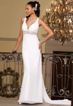 Group Usa & Camille La Vie Beaded Empire Waist Chiffon Gown Style# Wedding Dress