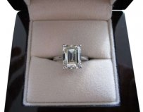 Vintage 4 CARAT EMERALD CUT DIAMOND ENGAGEMENT RING