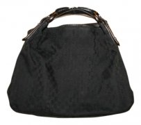 Gucci Gg Leather Trim Monogram Hobo Bag
