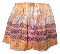 Free People Lace Trim Mini Skirt orange with multi-colored floral print