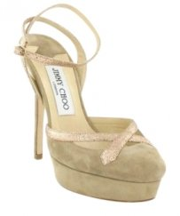 Jimmy Choo Gold Suede Cream Nude Platforms