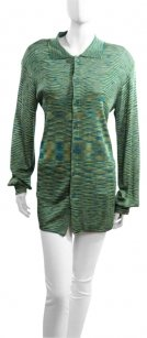Missoni Couture Knit Multicolored Button Down Shirt Green