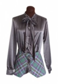 Paul Frank Gunmetal Plaid Ascot Tie Top Gray