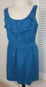 Green Ann Taylor Loft Teal Cascading Ruffle Dress
