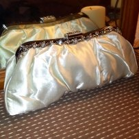 Satin Ivory Clutch Purse Handbag