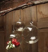 Hanging Bubbles Tea Light Holders Set 6