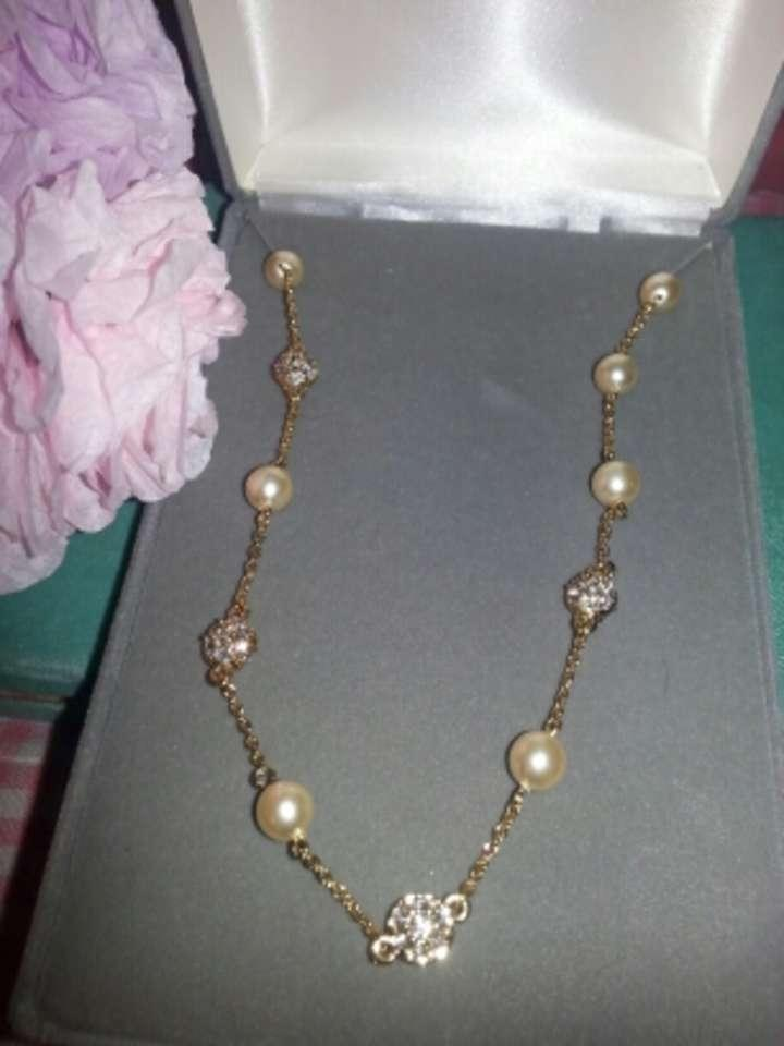 gold rhinestone and faux pearl necklace 55 off jewelry