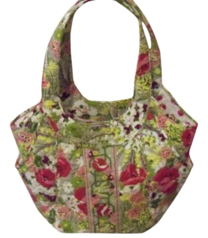 Vera Bradley Pink Flowers Green And White On Grey