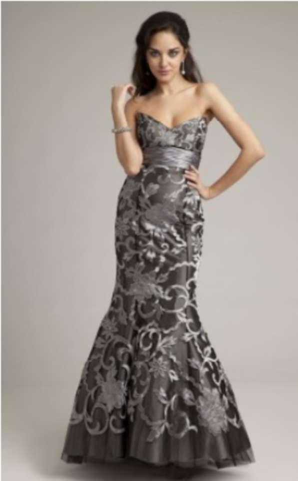 Camille La Vie Grey Long Strapless Brocade Dress With ... - photo #23
