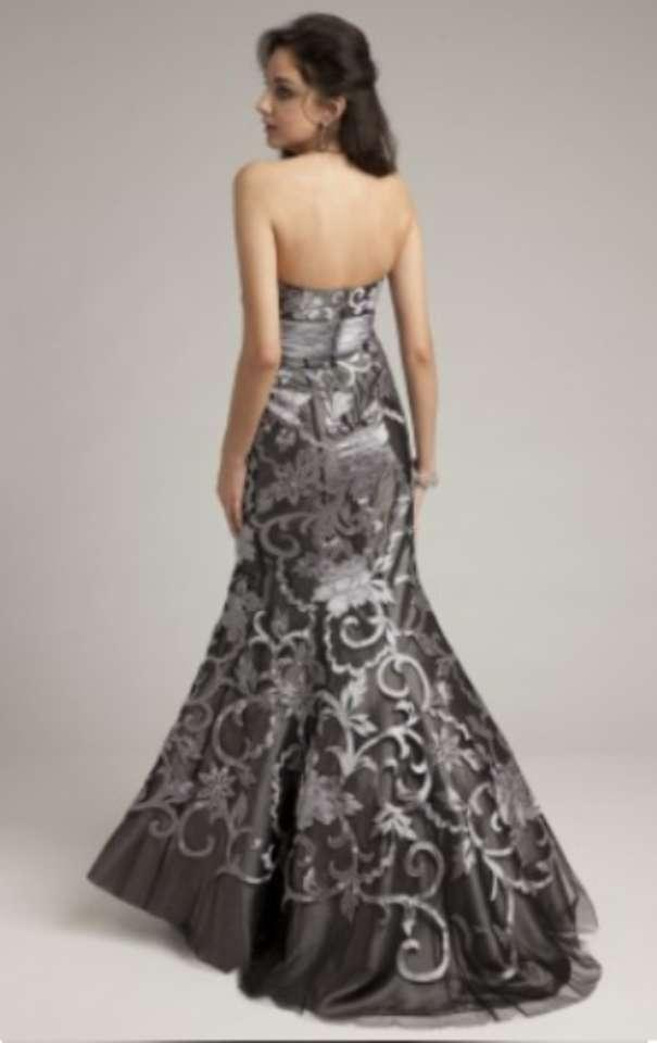 Camille La Vie Grey Long Strapless Brocade Dress With ... - photo #43