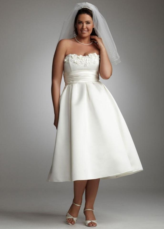 David's Bridal Tea-length Satin Gown With 3d Floral ...