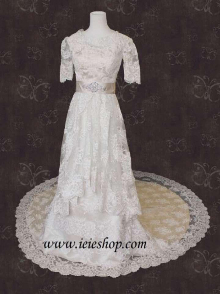Modest vintage lace wedding dresses the for Vintage inspired lace wedding dresses