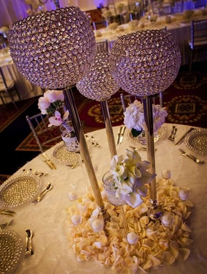 Crystal Globe Tall Centerpiece 36 Inches Tall Set Of 2